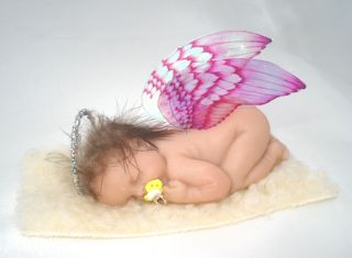 OOAK Fairy Sleeping Baby Angel Art Doll Polymer Clay Sculpt with Halo Alexie