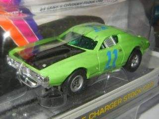 AW Auto World Rel 1 Xtraction HO Slot Car 11 Green '71 Dodge Charger Stock Car
