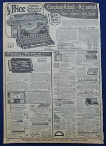 Typewriters School Supplies Luggage Original Vintage Antique 1920's Wards Ad