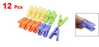 Home Plastic Laundry Clothes Pin Clips Clamps Orange Green 6 Pairs