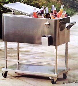 New Big Rolling Stainless Steel Party Cooler 80 Quart Patio Deck Ice Box Chest