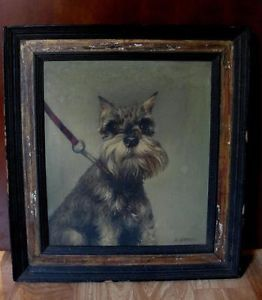 Antique A Sideris O C Oil Painting of Miniature Schnauzer Terrier Dog