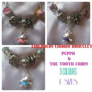 Childrens Kids Girls Charm Bracelet Peppa Pig Tooth Fairy Gift Bag Pink Blue UK