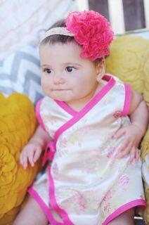 New Gold Pink Cherry Blossom Wedding Asian Wrap Kimono Baby Toddler Girl Dresses