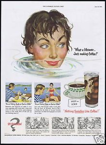 1951 Pretty Woman Swimmer Pan American Coffee Vintage Print Ad