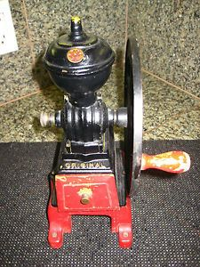 Antique MJF Original Made in Spain Single Wheel Coffee Grinder Mill Cast Iron