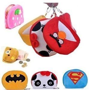 Portable Cartoon Cute Bag Change Coin Purse Case Plush Semicircle Handbag Girl