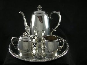 Rogers Silver Tea Coffee Set Coffee Pot Creamer Lidded Sugar Serving Tray