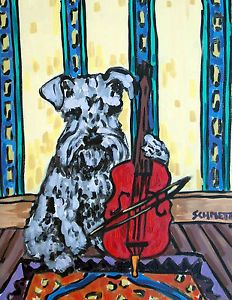 Schnauzer Playing The Cello Dog Art 8 5x11 Gloss Print