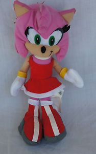 Toy Network Sonic Amy Rose Character Doll Toy Pink Red Soft Stuffed Plush 11""