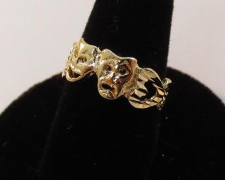 14kt Gold EP Theater Drama Comedy Tragedy Mask Ring Size 5