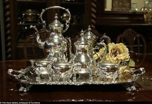 Rogers Vintage Silverplate Tea Coffee Set Tray