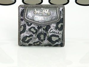 Coach Madison Ocelot Black Silver Shimmer Wallet Change Coin Purse