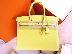 Hermes Birkin 35 Soufre GHW Gold 2013 New Color Lime Yellow Kelly CDC Constance