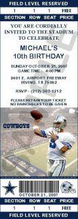 12 Dallas Cowboys Birthday Ticket Invitations