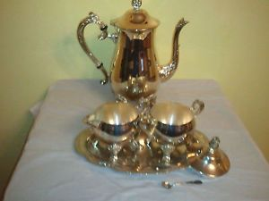 Silver Plated E P Brass 6 PC Coffee Tea Set Tea Pot Sugar Creamer Spoon Plate