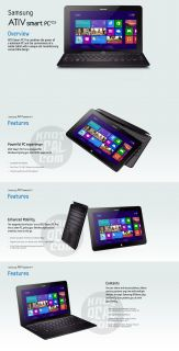 "Samsung Ativ Smart PC Pro XQ700T1C A54 11 6"" Tablet Hybrid with Keyboard Dock 887276011349"