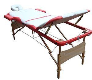 Lettino Mobile Lusso Massaggi Terapia Benessere Wellness Rosso Bianco A Tre Zone
