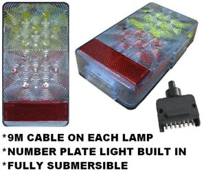 Complete Boat LED Trailer Light Kit with 9 Meter Cable