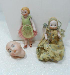 Two Antique German Bisque Doll House Dolls One German Bisque Miniature Head