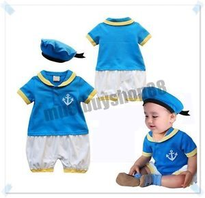 Cute Baby Toddler Boy Cartoon Duck Costume Blue Outfits w Hat 3 12 Months
