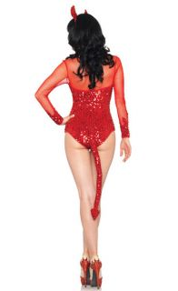 Leg Avenue 2 PC Rockin' Red Devil Costume Red Sequin Bodysuit with Tail Medium