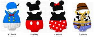 Baby Boy Girl Clothes Cartoon Character Costume w Hat Mickey Minnie for Party