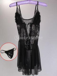 Hot Sexy Black Women Lace Lingerie Dress Set Sheer Sleepwear Babydoll w Thong