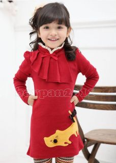 New Kids Toddlers Girls Lovely Long Sleeve Red Yellow Shirts Tops Sz 2 7Years