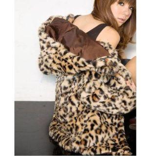 Elegant Lady Leopard Faux Fur Hoodie Hooded Coat Jacket