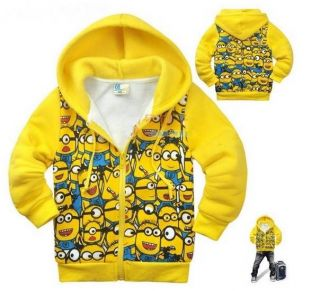 New Minions Despicable Me Toddler Girls Boys Costume Fleeced Zipper Hoodies Coat