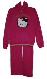 Sanrio Hello Kitty 2pc Outfit Track Suit Jacket Pants Set Girl Size 6 Pink