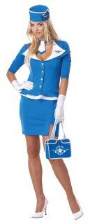 Retro Airline Stewardess Costume Adult New