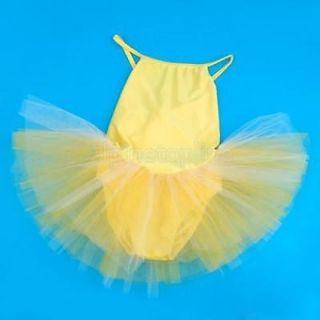Girl Yellow Ballet Tutu Dance Dress Crossed Straps 5 6T