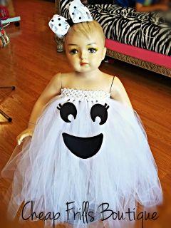Baby Infant Toddler Girl Ghost Tutu Halloween Costume Dress Hair Bow 1 2T 3T 4T