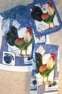Kitchen Towel Hanging Hand Hot Pad Rooster Blue 3ps New