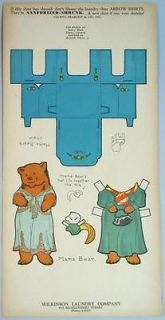 2 Uncut Laundery Paper Doll Cards Anthropomorphic Bears Baby Mama Bear C1937