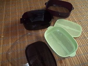 Vintage Tupperware Oval Stack Cooker Microwave Steamer Purple Lime Green 6 Piece