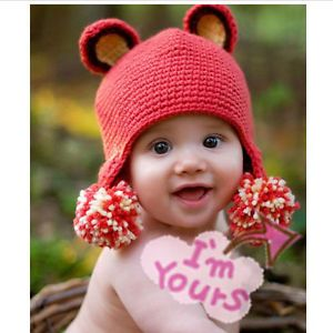1 PC Cute Baby Infant Cartoon Hat Costume Photo Photography Prop Newborn Hat Red