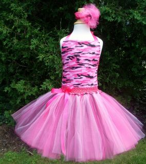 Pink Camo Tutu Dress Pageant Birthday Costume Camouflage Army Fatigue