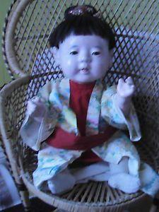 "Antique Japanese Oriental Ichimatsu Large Baby Boy Doll 18"" Orignal Clothes VGC"