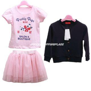 3pcs Kid Toddler Baby Girl Top Coat Tshirt Skirt Tutu Outfit Dress Clothes 0 5T