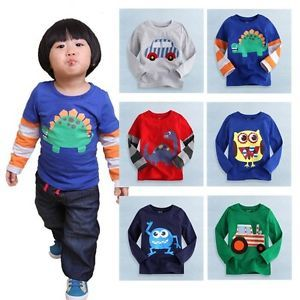 "Baby Toddler Kids Boy Girl Clothes Long Top Tee Shirts ""Cool T Shirts Boy """