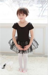 Girl Party Leotard Ballet Tutu Costume Dance Skirt Short Sleeve Dress 2 7Y