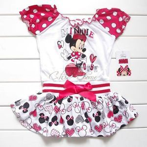 Disney Minnie Mouse Girls Baby Polka Dots Top Mini Dress Party Costume 24M 5T