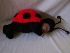 "Anne Geddes Ladybug African American Baby Doll Plush Costume 1998 Unimax 17"""