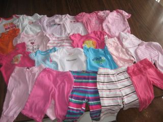 Large Lot Baby Girl Clothes 25 Items Onesies Pants Carters 3 Mos