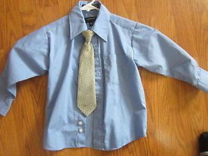 Size 4 Boys Dress Formal Blue Shirt Tie Toddler Clothes