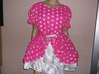 "Adult Baby Sissy Pink White Spotty Dress 48"" Pretty Double Layer Frilly Hem"