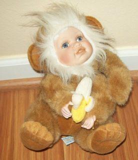 2003 Geppeddo Cuddle Kids Plush Milo Monkey Doll Porcelain Face Hands